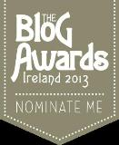 Nomination button for Blog Awards 2013