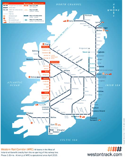 Map of the main train lines from Dublin to stations across the land