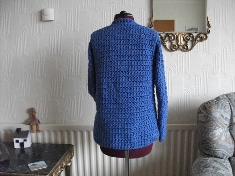 back view of blue jumper