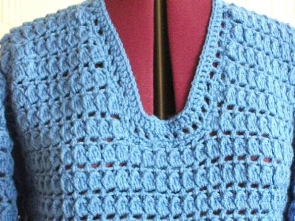 neckline of blue jumper