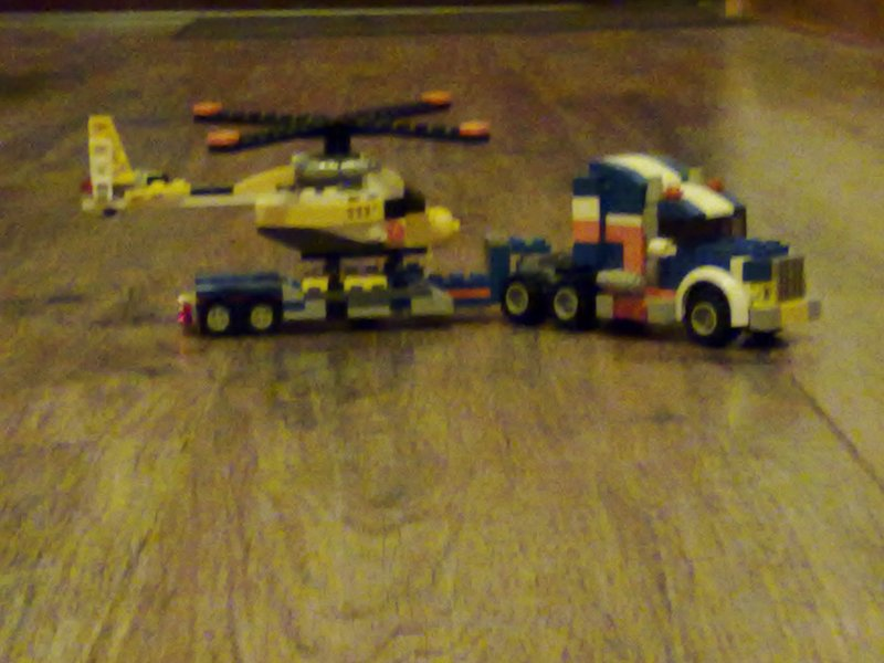 Lego Helicopter on transporter
