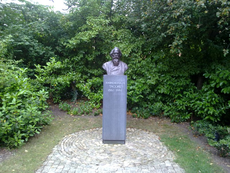 Bust of Nobel Prize winning poet, Rabindranath Tagore in St Stephen's Green Dublin, Ireland.